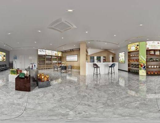 土特产商店, 农产品展厅, 休闲桌椅, 吧台, 展架, 货架
