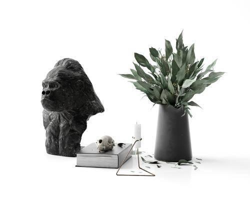 猴子雕塑, 植物, 盆栽, 摆件组合, 饰品组合, 现代