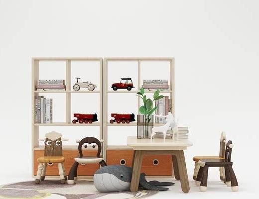 儿童椅, 座椅, 书架, 书桌, 儿童玩具