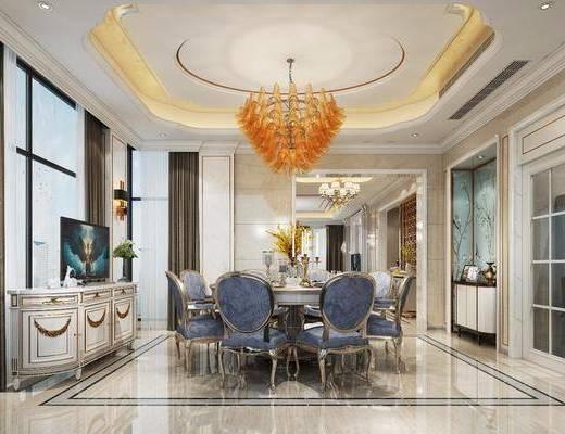 法式餐厅, 法式, 餐桌椅, 椅子, 吊灯, 装饰柜, 壁灯