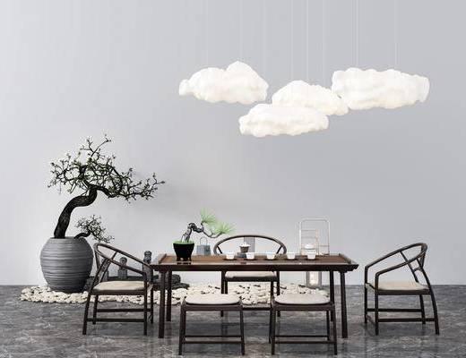 新中式, 餐桌椅, 单椅, 桌椅组合, 茶具, 盆栽, 云
