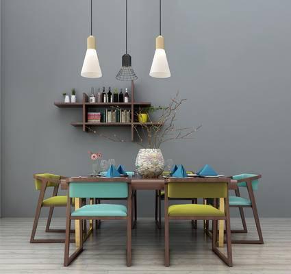 北欧餐桌椅组合, 木质餐桌, 餐桌装饰, 吊灯, 墙饰, 挂件, 书架, 装饰架, 北欧