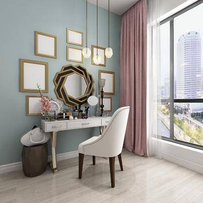 梳妆台, 椅子组合, 单人椅, 装饰镜, 摆件, 装饰品, 陈设品, 凳子, 墙饰, 现代