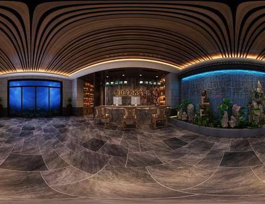 新中式, 会所, 大厅, 工装