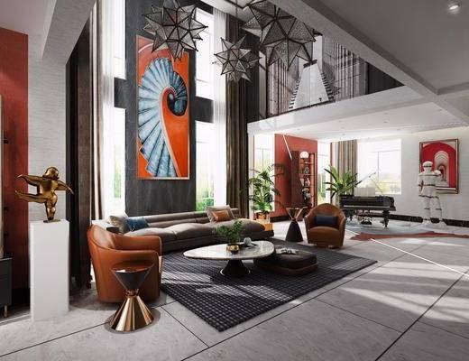別墅客廳, 沙發組合, 沙發茶幾組合, 吊燈組合, 盆栽, 綠植植物, 擺件組合, 掛畫組合, 現代