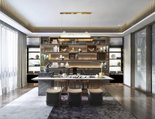 新中式茶室, 中式茶室, 茶室, 茶桌, 餐桌椅, 桌椅组合