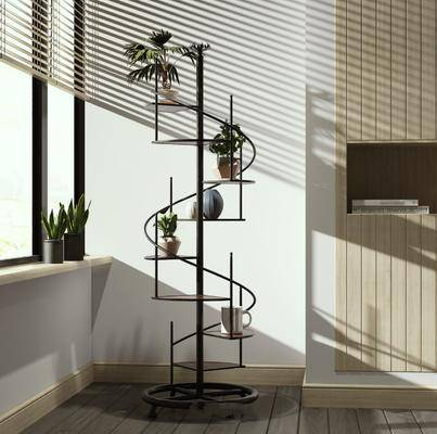 绿植组合, 装饰柜架, 盆栽植物