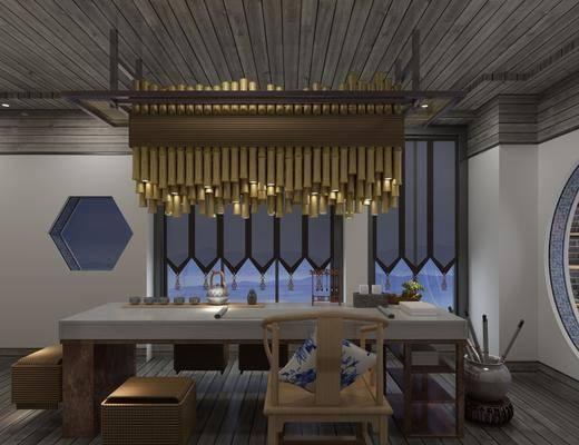 新中式茶馆, 中式茶馆, 茶桌, 桌椅