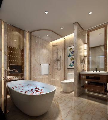 卫生间, 浴缸, 洗手台, 装饰镜, 马桶, 装饰画, 挂画, 花洒, 中式