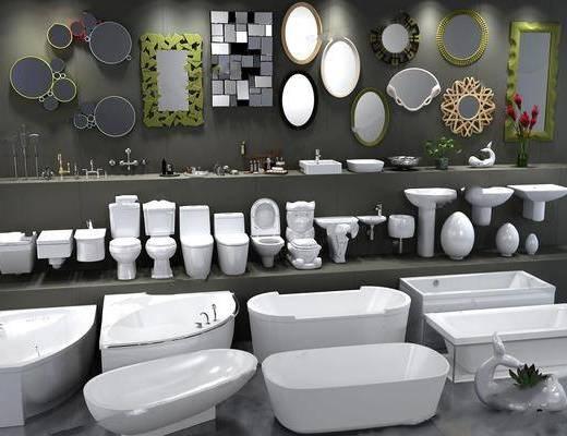 马桶, 花洒, 浴缸, 五金饰品, 植物, 卫浴, 镜子