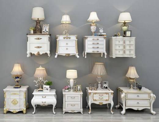 床头柜, 柜架组合, 台灯
