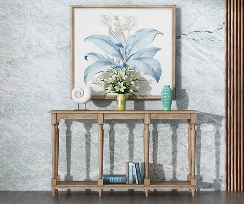 端景台, 花瓶, 陈设品, 装饰画, 美式, 书籍