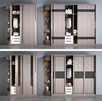 衣柜, 衣帽柜, 现代, 衣服, 服饰