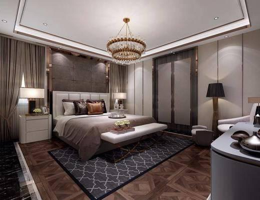 卧室, 双人床, 床尾凳, 电视柜, 边柜, 装饰柜, 落地灯, 床头柜, 台灯, 吊灯, 单人沙发, 凳子, 装饰品, 陈设品, 现代
