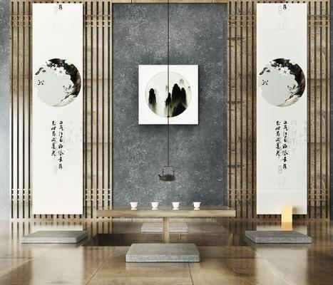 茶室, 茶桌, 装饰画, 挂画, 茶壶, 新中式