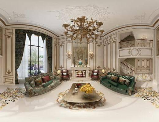 简欧客餐厅, 客厅, 餐厅, 沙发组合, 沙发茶几组合, 壁灯组合, 边柜组合