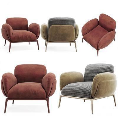 现代, 沙发, 单椅