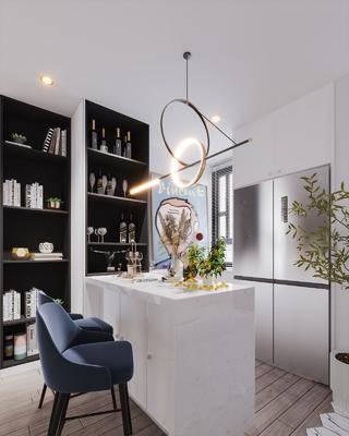 吧台, 吧椅, 吊灯, 植物, 餐具组合
