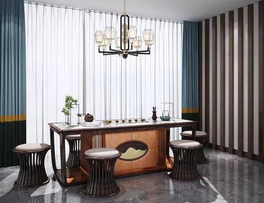 桌椅组合, 新中式桌椅组合, 茶具, 茶具组合, 单椅, 植物