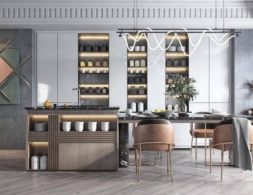 餐桌, 桌椅组合, 单椅, 墙饰, 酒柜, 吊灯