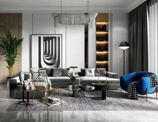 沙发组合, 吊灯, 茶几, 落地灯, 单椅, 装饰画