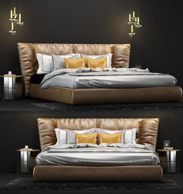 现代, 床具, 双人床, 床头柜, 吊灯, 摆件