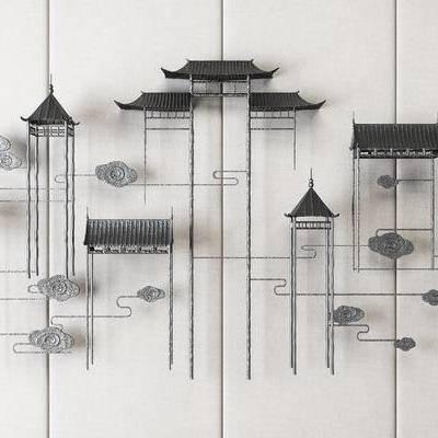 新中式铁艺墙饰, 宫廷墙饰, 装饰品