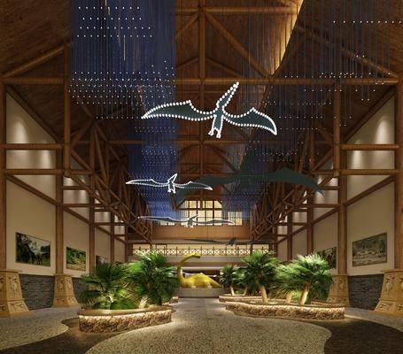 展览馆大厅, 展览, 展厅, 树木, 绿植植物, 吊灯, 新中式