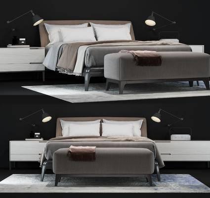 现代, 双人床, 床头柜, 台灯