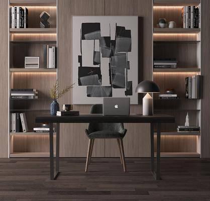 书房, 书桌, 单人椅, 台灯, 笔记本, 书柜, 装饰柜, 书籍, 花瓶花卉, 装饰画, 挂画, 现代