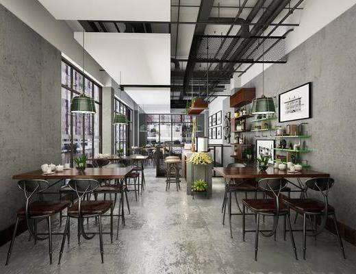 餐厅, 餐桌, 餐椅, 单人椅, 吊灯, 餐具, 盆栽, 绿植植物, 墙饰, 装饰画, 挂画, 前台, 组合画, 工业风