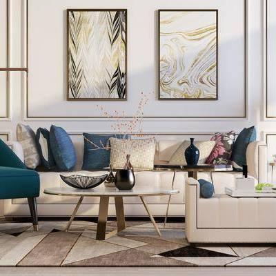 现代客厅, 现代, 客厅, 沙发组合, 茶几, 装饰画, 壁灯