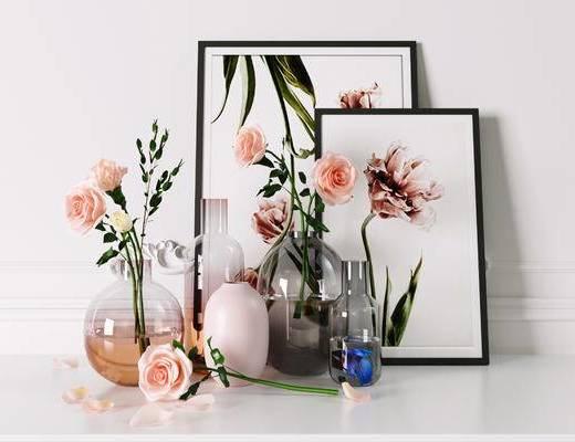 玻璃花瓶, 干花, 花瓶摆件