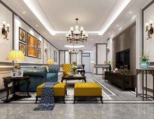 客厅, 多人沙发, 茶几, 单人沙发, 凳子, 边几, 台灯, 壁灯, 装饰画, 挂画, 组合画, 电视柜, 边柜, 动物画, 盆栽, 花卉, 美式
