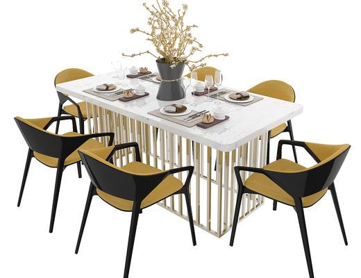 餐桌椅, 桌椅组合, 餐具, 花瓶, 椅子, 桌子