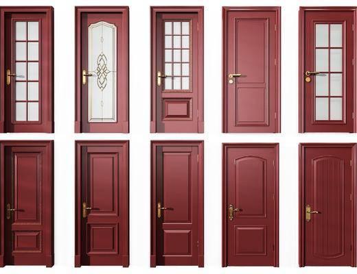 平开门组合, 门组合, 中式