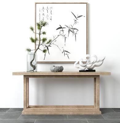 新中式玄关装饰架, 摆设, 松柏, 祥云摆件, 挂画