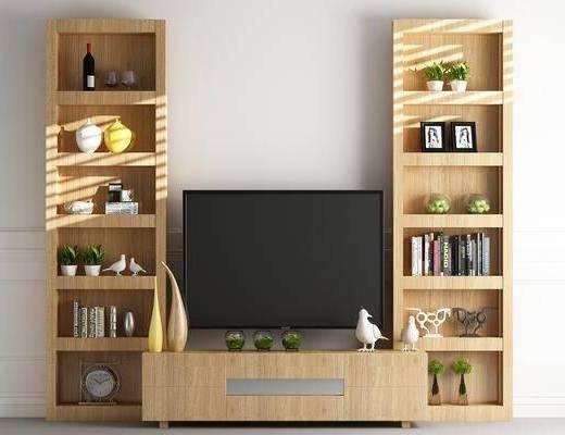 电视柜, 装饰柜, 边柜, 书柜, 书籍, 摆件, 装饰品, 陈设品, 北欧
