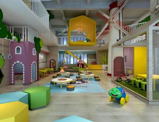 幼儿园教室, 幼儿园图书室, 幼儿园手工室, 活动中心, 儿童桌椅, 气球, 儿童吊灯