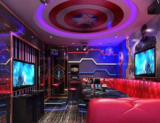 KTV包间, 漫威主题, 多人沙发, 茶几, 转角沙发, 单人椅, 酒瓶, 现代