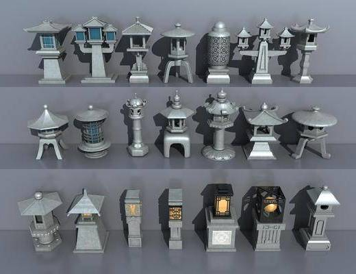 新中式庭院灯, 庭院灯组合