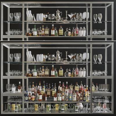 酒架组合, 酒水酒瓶, 现代