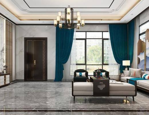 客厅, 新中式客厅, 桌椅组合, 沙发组合, 茶几, 电视柜, 新中式