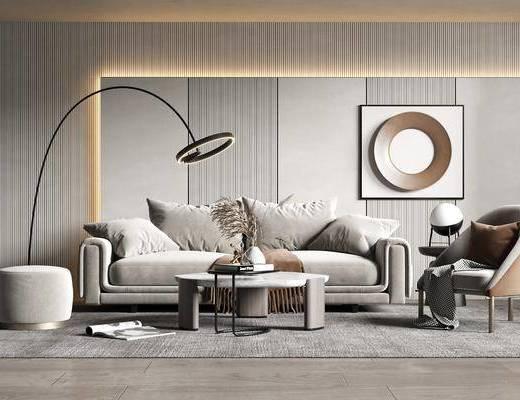 沙发组合, 茶几, 落地灯, 单椅, 装饰画