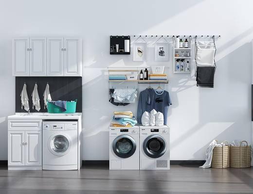 柜子, 洗衣机, 浴柜组合, 墙饰
