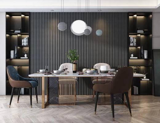 餐桌, 吊灯, 装饰柜, 餐具组合