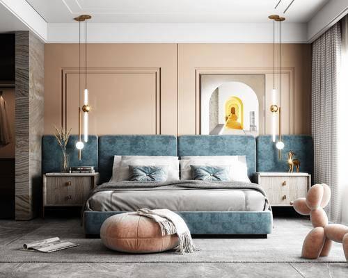 双人床, 装饰画, 吊灯, 床头柜, 摆件