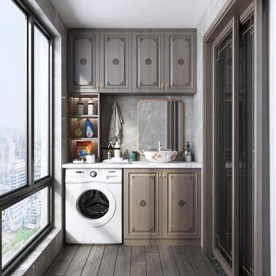 阳台, 露台, 洗衣机, 现代阳台