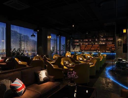 酒吧, 工业风酒吧, 桌椅组合, 前台