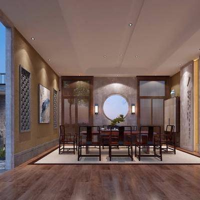 茶室, 茶桌, 桌子, 单人椅, 办公椅, 墙饰, 装饰架, 摆件, 装饰画, 露台, 绿植, 植物, 中式